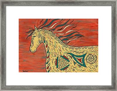 Tribal Spirit Horse Framed Print by Susie WEBER