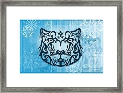 Tribal Tattoo Design Illustration Poster Of Snow Leopard Framed Print by Sassan Filsoof