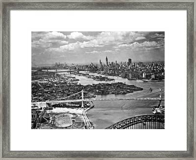 Triborough Bridge Is Completed Framed Print by Underwood Archives