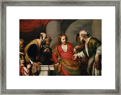 Tribute Money, C.1631 Oil On Canvas Framed Print by Bernardo Strozzi