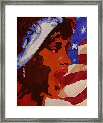 Tribute To Whitney Houston Framed Print by Xueling Zou
