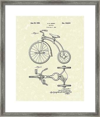 Tricycle 1936 Patent Art Framed Print by Prior Art Design