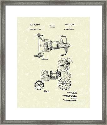 Tricycle 1953 Patent Art Framed Print by Prior Art Design