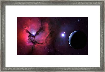 Trifid Nebula Seen From Nearby Planet Framed Print by Mark Garlick
