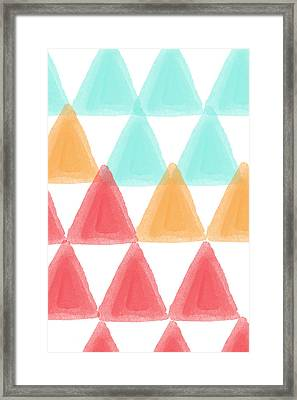 Trifold- Colorful Abstract Pattern Painting Framed Print by Linda Woods