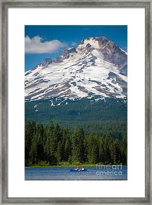 Trillium Lake Canoe Framed Print by Inge Johnsson