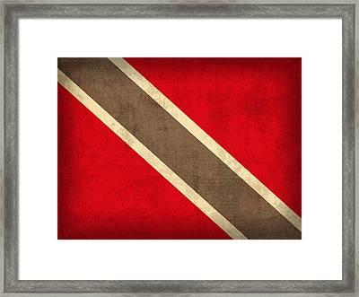 Trinidad And Tobago Flag Vintage Distressed Finish Framed Print by Design Turnpike