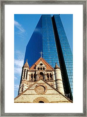 Trinity Church And Hancock Tower Framed Print by Spencer Grant