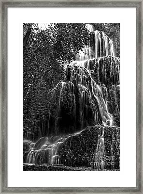 Trinity Waterfall In Monasterio De Piedra Park Bw Framed Print by RicardMN Photography