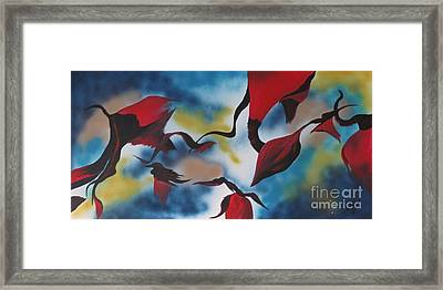Triphids In Red Framed Print by Barbara Petersen