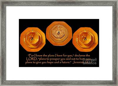 Triple Eight Octagon Saucers With Jeremiah Twenty Nine Eleven On Black Framed Print by Heather Kirk