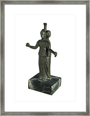 Triple Form Of Hecate Around A Column Framed Print by Everett