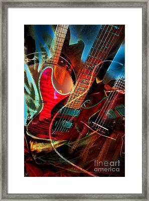 Triple Header Digital Banjo And Guitar Art By Steven Langston Framed Print by Steven Lebron Langston
