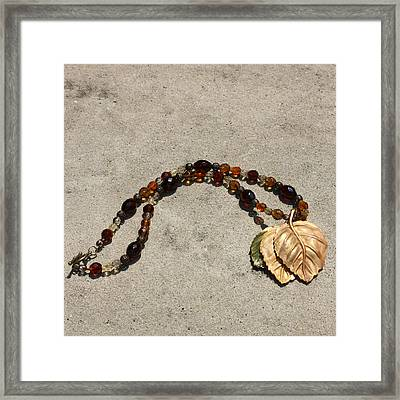 Triple Leaf Costume Brooch Pendant Necklace 3637 Framed Print by Teresa Mucha