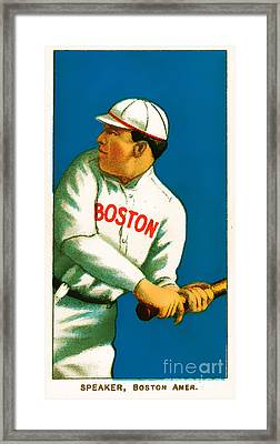 Tris Speaker Boston Red Sox Baseball Card 0520 Framed Print by Wingsdomain Art and Photography
