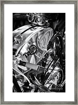 Triton Cafe Racer Motorcycle Monochrome Framed Print by Tim Gainey