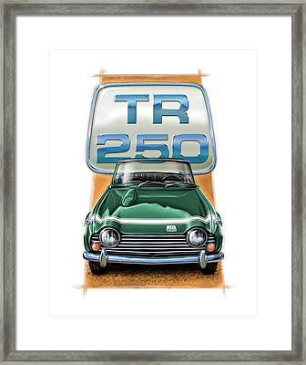 Triumph Tr-250 Sportscar In Dark Green Framed Print by David Kyte