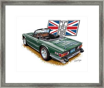 Triumph Tr-6 British Racing Green Framed Print by David Kyte