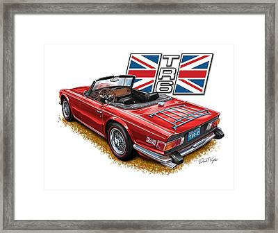 Triumph Tr-6 Red Wire Wheels Framed Print by David Kyte