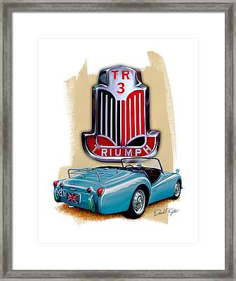 Triumph Tr_3 Sports Car In Blue Framed Print by David Kyte