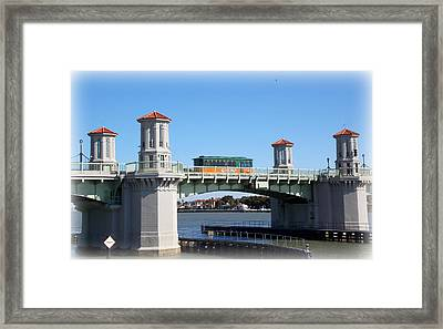 Trolley On Bridge Of Lions Framed Print by Sheri McLeroy