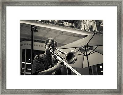 Trombone In New Orleans Framed Print by David Morefield