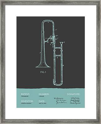 Trombone Patent From 1902 - Modern Gray Blue Framed Print by Aged Pixel