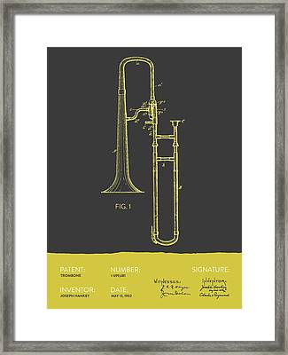 Trombone Patent From 1902 - Modern Gray Yellow Framed Print by Aged Pixel