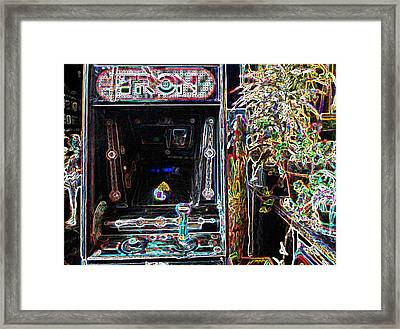 Tron Arcade Machine - Neon Enhanced Framed Print by David Lovins