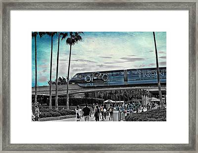 Tron Monorail Disney World In Sc Textured Sky Framed Print by Thomas Woolworth