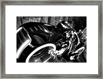 Tron Motor Cycle Framed Print by Michael Hope