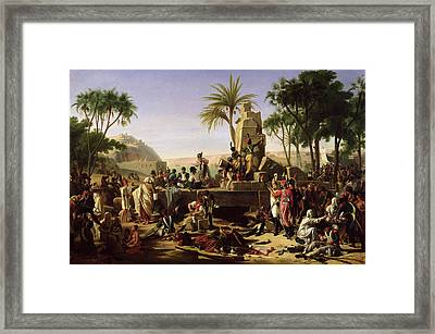 Troops Halted On The Banks Of The Nile, 2nd February 1799, 1812 Oil On Canvas Framed Print by Jean-Charles Tardieu