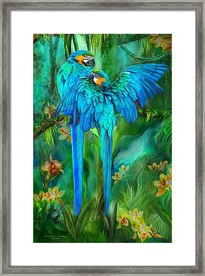 Tropic Spirits - Gold And Blue Macaws Framed Print by Carol Cavalaris