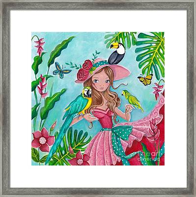 Tropical Bird Love Framed Print by Caroline Bonne-Muller