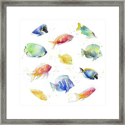 Tropical Fish Round Framed Print by Lanie Loreth