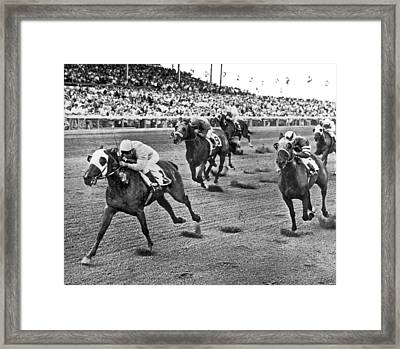 Tropical Park Horse Race Framed Print by Underwood Archives