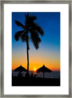 Tropical Summer Sunset Framed Print by Aged Pixel