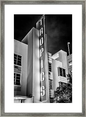 Tropics Hotel Art Deco District Sobe Miami - Black And White Framed Print by Ian Monk