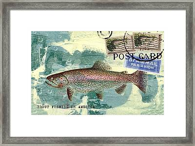 Trout Fishing In America Postcard Framed Print by Carol Leigh