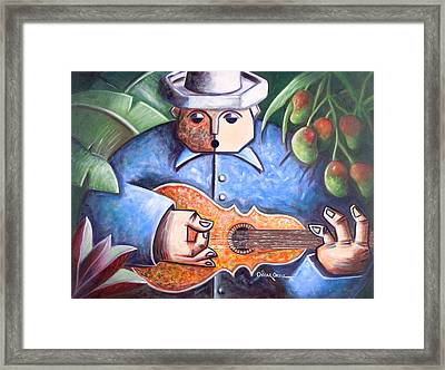 Trovador De Mango Bajito Framed Print by Oscar Ortiz