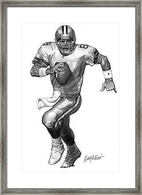 Cowboy Pencil Drawings Framed Print featuring the drawing Troy Aikman by Harry West