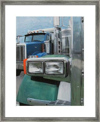 Trucks In Green And Blue Framed Print by Anita Burgermeister