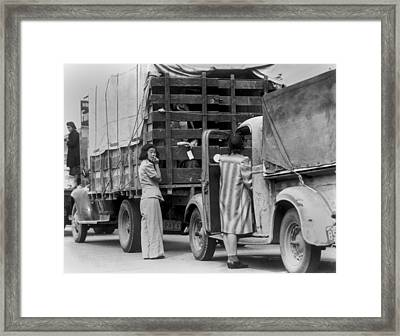 Trucks Removing Japanese American Framed Print by Everett