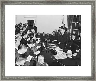 Truman Announces V-e Day Framed Print by Underwood Archives