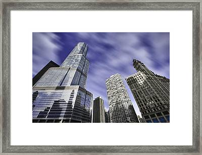 Trump Tower And Wrigley Building Framed Print by Sebastian Musial