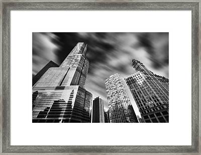 Trump Tower In Black And White Framed Print by Sebastian Musial