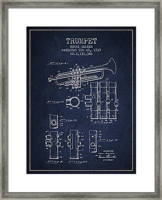 Trumpet Patent From 1939 - Blue Framed Print by Aged Pixel