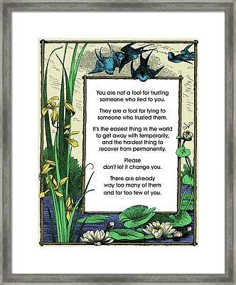 Trust Framed Print by Mike Flynn
