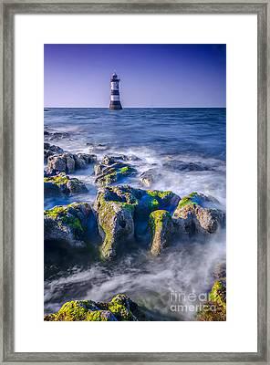 Trwyn Du Lighthouse Framed Print by Darren Wilkes