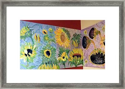 Tryptich Corner Sunflowers Framed Print by Vicky Tarcau